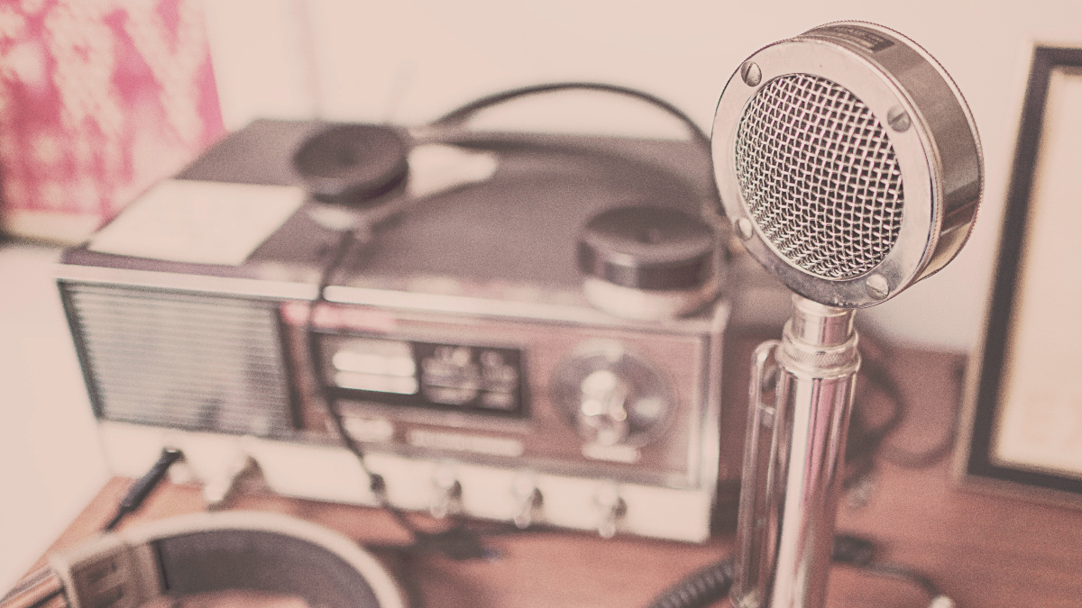 microphone, radio, headphones