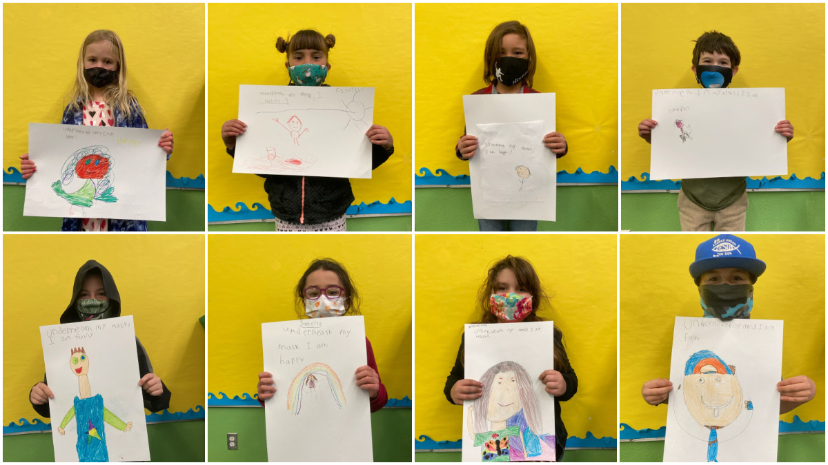 iLEAD Agua Dulce learners wearing masks and showing art
